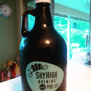 64 oz growler from Sky High Brewing in Corvallis, Oregon
