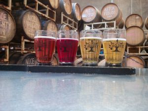 Flight at the 2Towns Taproom in Corvallis, Oregon
