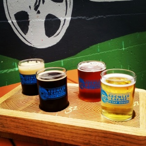 Beer flight at The Growler Garage and Taproom in Albany, Oregon