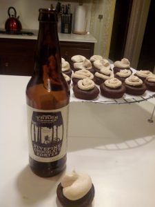 Three Creeks Brewing's Five Pine Chocolate Porter Cupcakes with Irish Cream Cheese Frosting