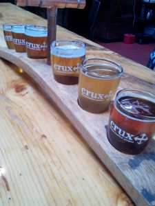 Our taster flight at Crux Fermentation Project in Bend, Oregon