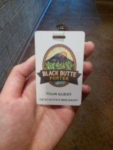 The awesome tour guest badges for the Deschutes Brewery Tour in Bend, Oregon