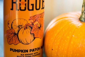 Rogue Brewing's Pumpkin Patch Ale, a hefty bottle filled with liquid fall