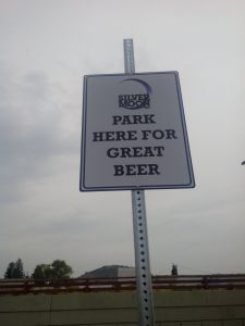 Epic parking sign at Silver Moon Brewing in Bend, Oregon