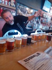 A flight of 12 beers! The the best flight of craft beer in town at Silver Moon Brewing in Bend, Oregon