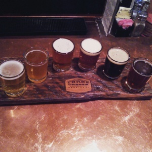 The 6 Shooter Sampler at Three Creeks Brewing in Sisters, Oregon