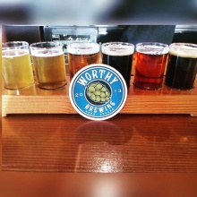 Taster flight at Worthy Brewing in Bend, Oregon